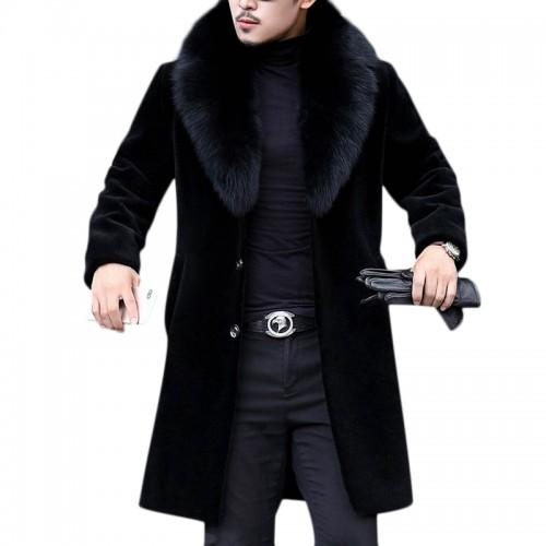 Men Faux Fur Coat Slim Fit Mid Long, Fur Coats Mens Faux
